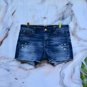 J Crew Indigo Denim Paint Dot Cutoff Shorts Sz 29